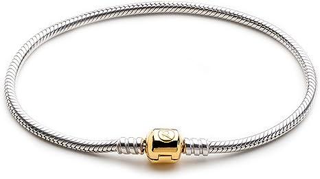 Hot 925 Silver Snake Chain Bracelets Bangle Suit sterling European Beads Charm