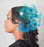 Turquoise Peacock Feather Hair Clip with Vintage Veil