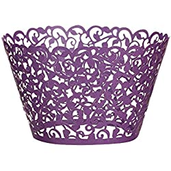 Cupcake Wrappers 100 pcs, fretwork Filigree Bake Cake Paper Cups Wrappers, latticework lacework Artistic of Baking Cup Muffin Case Trays for Wedding Birthday Party Decoration (purple)