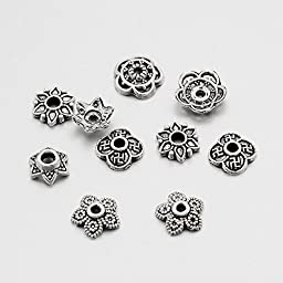 PEPPERLONELY Brand 50 Gram Antiqued Silver Assorted Tibetan Style Bead Caps 6mm ~ 8mm