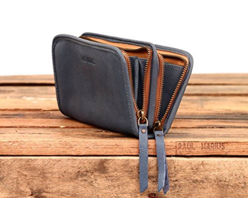 MON COMPAGNON Sbiadita Blu portafoglio in pelle stile Vintage PAUL MARIUS