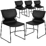 Flash Furniture 5 Pk. HERCULES Series 661 lb. Capacity Black Full Back Stack Chair with Black Frame