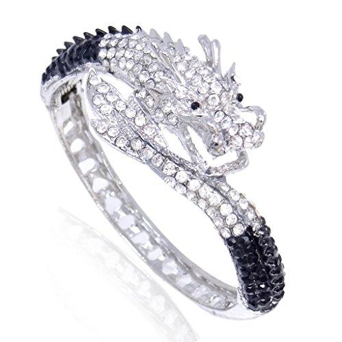 Charm Bracelet Austrian Crystal (EVER FAITH Women's Austrian Crystal Cool Animal Fly Dragon Bangle Bracelet Black w/ Clear Silver-Tone)