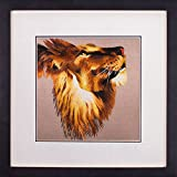 SILK ART Pure Handmade Embroidery Realism Artwork Hanging Wall Decoration Asian Needlework Craft Animals Painting Africa Lions Praying framed SDW003B