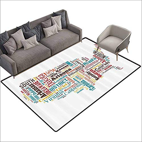 - Floor Mat Kitchen Long Carpet Americana for Home Decorations Collection,USA United States America Map Cities and Towns California Missouri Virginia,Teal Brown Yellow 60