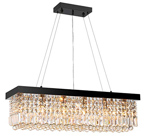 Moooni Modern Rectangular K9 Crystal Chandelier Lighting Dining Room Pendant Lighting, Painted Black Finish L39.5 X W10 X H10