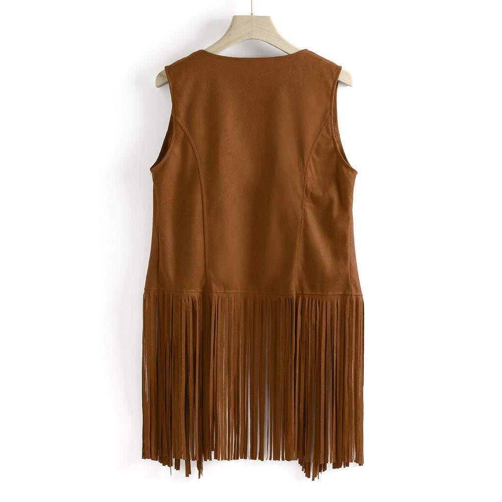 TIFENNY Womens Autumn Jacket Soft Suede Ethnic Style Sleeveless Tassels Fringed Vest New Lapel Fashion Cardigan Tops