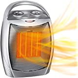 Portable Electric Space Heater with Thermostat, 1500W/750W Safe and Quiet Ceramic Heater Fan, Heat Up 200 Square Feet for Office Room Desk Indoor Use
