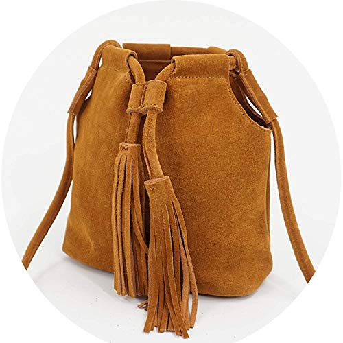 Christmas Gifts Genuine Leather Small Bucket Shoulder Bag Leisure Summer Ibiza Suede Fringe