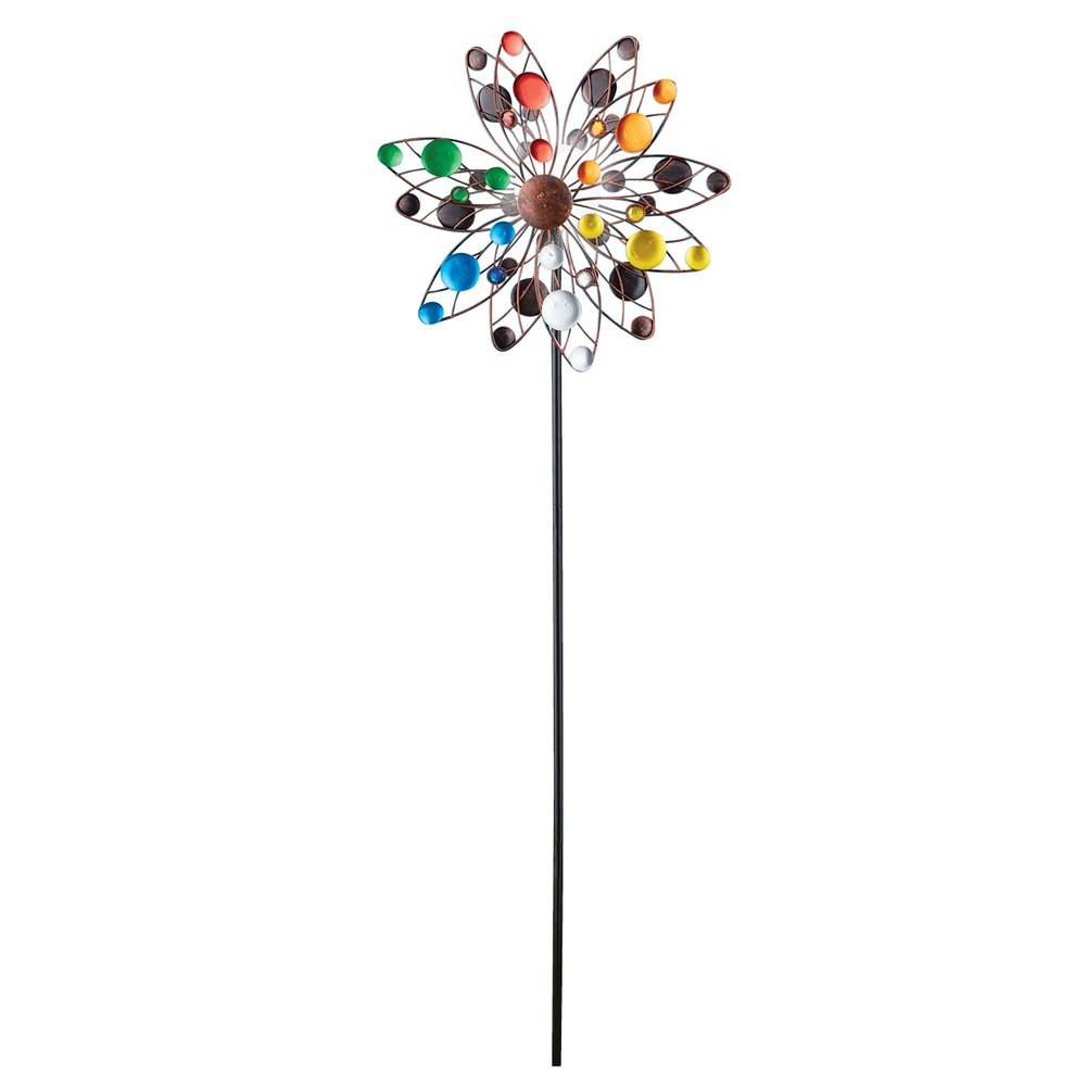Colorful Confetti Solar Lighted Double Sided Kinetic Wind Spinner Garden Art Stake, 47 5/8''H