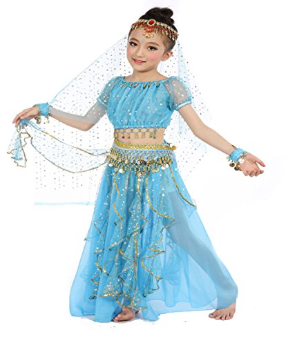 Girls Belly Dance Top Skirt Set Halloween Costume with Head Veil,Waist Chain,Blue,L(Height: 51.2in-57.1in)