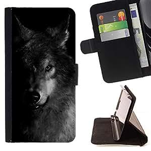 Momo Phone Case / Flip Funda de Cuero Case Cover - Perro Negro Blanco Invierno Feral Animal - LG G4c Curve H522Y (G4 MINI), NOT FOR LG G4