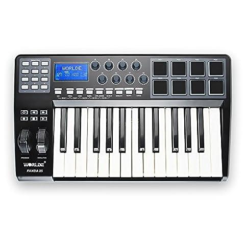 Worlde Panda 25 MIDI USB Keyboard Controller 25-Key with 8 Pads (Media Player Midi Control)