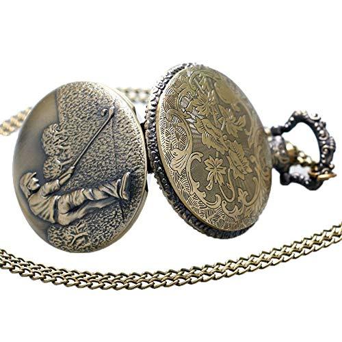 3D brons effekt kvarts fickur halsband på 80 cm/32 tum kedja män kvarts fickur