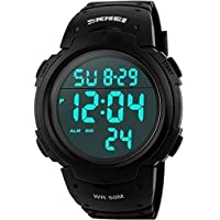Men's Digital Sports Watch LED Screen Large Face Military Watches and Waterproof Casual Luminous Stopwatch Alarm...
