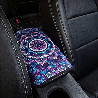 YR Vehicle Center Console Armrest Cover Pad, Universal Fit Soft Comfort Center Console Armrest Cushion for Car, Stylish Pattern Design Car Armrest Cover, Lotus: Automotive
