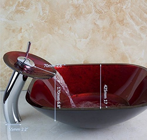 GOWE Bathroom Art Round Washbasin Red Tempered Glass Vessel Sink With Waterfall Chrome Faucet Set 2