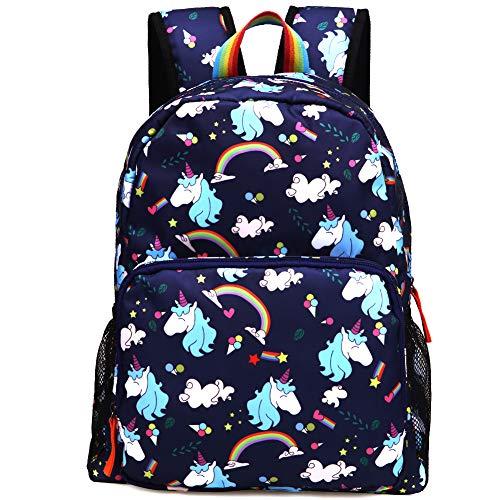 Kemy's Unicorn Preschool Backpack for Girls Rainbow Inicorn Toddler Backpacks for Little Kids Preschooler Kindergarten Back Pack Nursery School Packie Kiddos Water Resistant Small Gift Navy Blue