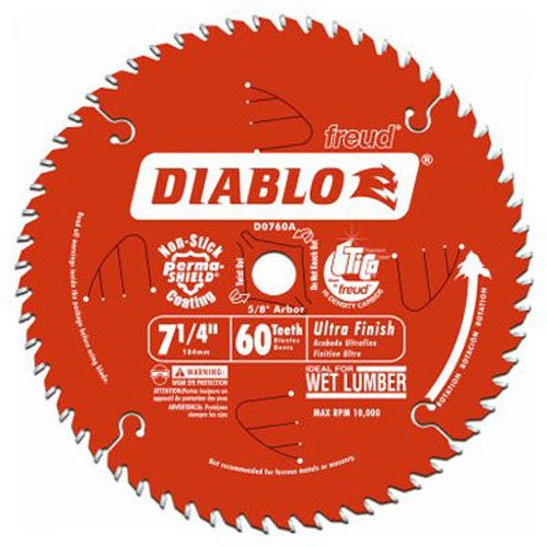 - Freud D0760X Diablo Ultra Finish Saw Blade ATB 7-1/4-Inch by 60t 5/8-Inch Arbor