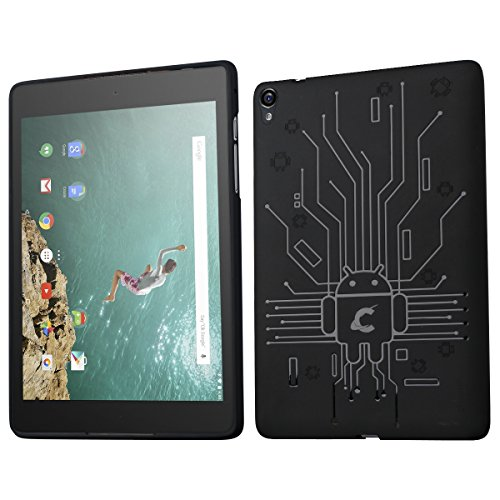 Google Nexus 9 Case, Cruzerlite Bugdroid Circuit TPU Case Compatible with HTC Google Nexus 9 - Black