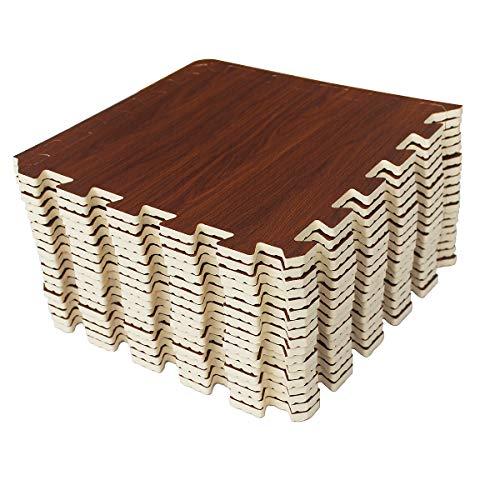LaFamille Wood Grain Floor Mat Foam Interlocking Puzzle Wood Mat for Kids, Gym, Basement 1'x1' with Borders (18 Tiles (18 Sq ft), Mahogany)