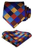 HISDERN Extra Long Check Tie Handkerchief Men's Necktie & Pocket Square Set (Orange & Blue & Brown)