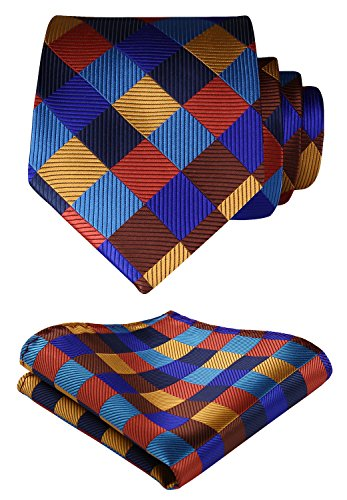 HISDERN Extra Long Check Tie Handkerchief Men's Necktie & Pocket Square Set (Orange & Blue & Brown)