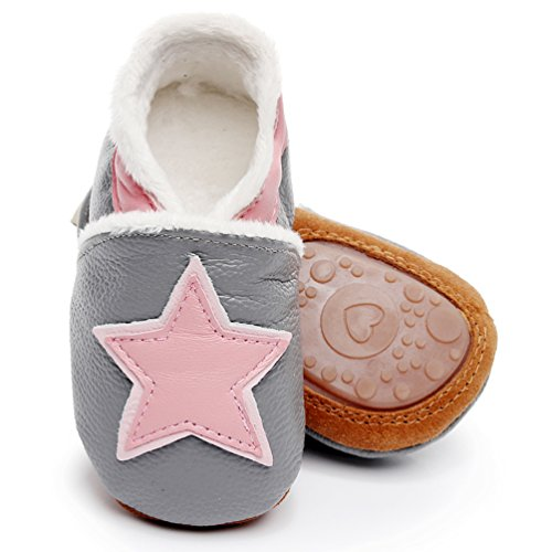 "HONGTEYA Baby Moccasins with Fur Fleece Rubber Soles Warm Snow Boots Tassel Bow Winter Baby Shoes for Boys Girls (18-24m/5.71"", Star-Grey)"