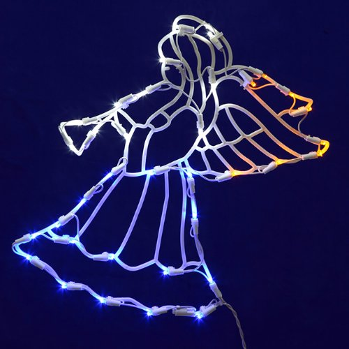Vickerman Lighted LED Angel with Horn Christmas Window Silhouette Decoration, (Christmas Window Silhouette)
