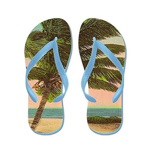 Cafepress Vintage Sanibel Palmboom Ansichtkaart - Flip Flops, Grappige String Sandalen, Strand Sandalen Caribbean Blue