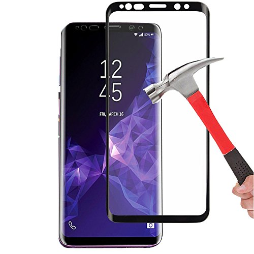 (Galaxy S9 Tempered Glass Screen Protector, KMISS 3D Full Coverage [Anti-Fingerprint][No Bubble] [Ultra Clear] [9H Hardness] Tempered Glass Screen Protector Galaxy S9-Black (1 Pack))