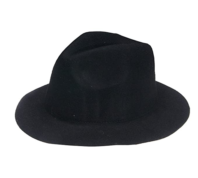 Amazon.com  missfiona Kids Vintage Wool Felt Warm Fedora Hat Wide Brim Jazz  Hat for Age 3-9(Black)  Clothing dede2ed84b7