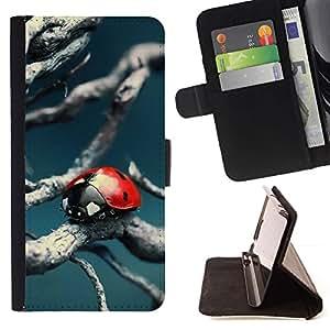 Momo Phone Case / Flip Funda de Cuero Case Cover - Mariquita azul del trullo rama de árbol Naturaleza - Sony Xperia Z5 Compact Z5 Mini (Not for Normal Z5)