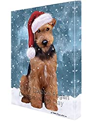 Let It Snow Christmas Holiday Airdale Dog Wearing Santa Hat Canvas Wall Art D214 36x48