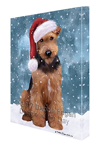 Let it Snow Christmas Holiday Airdale Dog Wearing Santa Hat Canvas Wall Art D214 (11x14) by Doggie of the Day