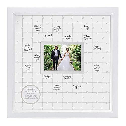 (Pearhead Puzzle, White, Unique Alternative, Perfect Wedding Keepsake Guestbook Frame,)