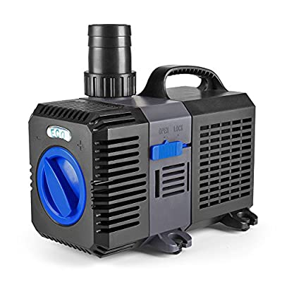 Flexzion Pond Pump Submersible Adjustable Frequency Inline Aquarium Fountain Waterfall Koi Fish Salt Fresh Water Filter with Set of Outlet Adapter