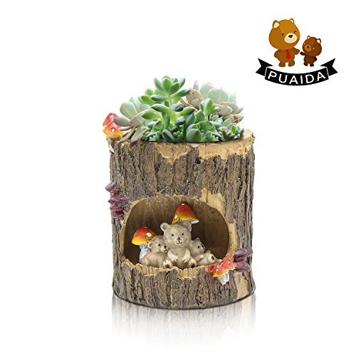 PUAIDA Teddy Bear Succulent Planter, 4.13 Inch Cute Plant Pot Small Holder with Drainage Hole for Succulent Plants, Small Cactus and Herbs for Room Decor, Home and Office Decor (Teddy Bear Checks)