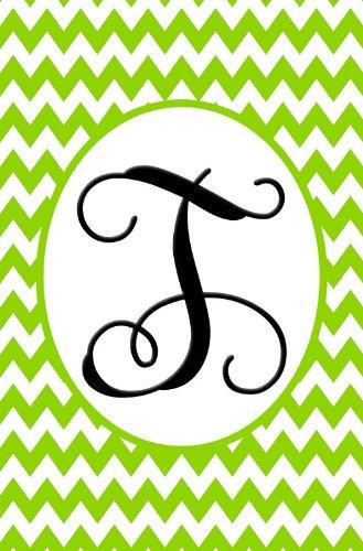 """Chevron Vine"" Embroidered Monogram T Garden Flag 12.5""x18"""