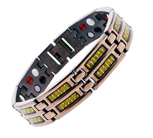 - Mandala Crafts Titanium Magnetic Bracelet Copper Tone Wristband for Men, Ion Germanium Magnet 4 Elements (Wide Gold Tone Carbon Fiber)