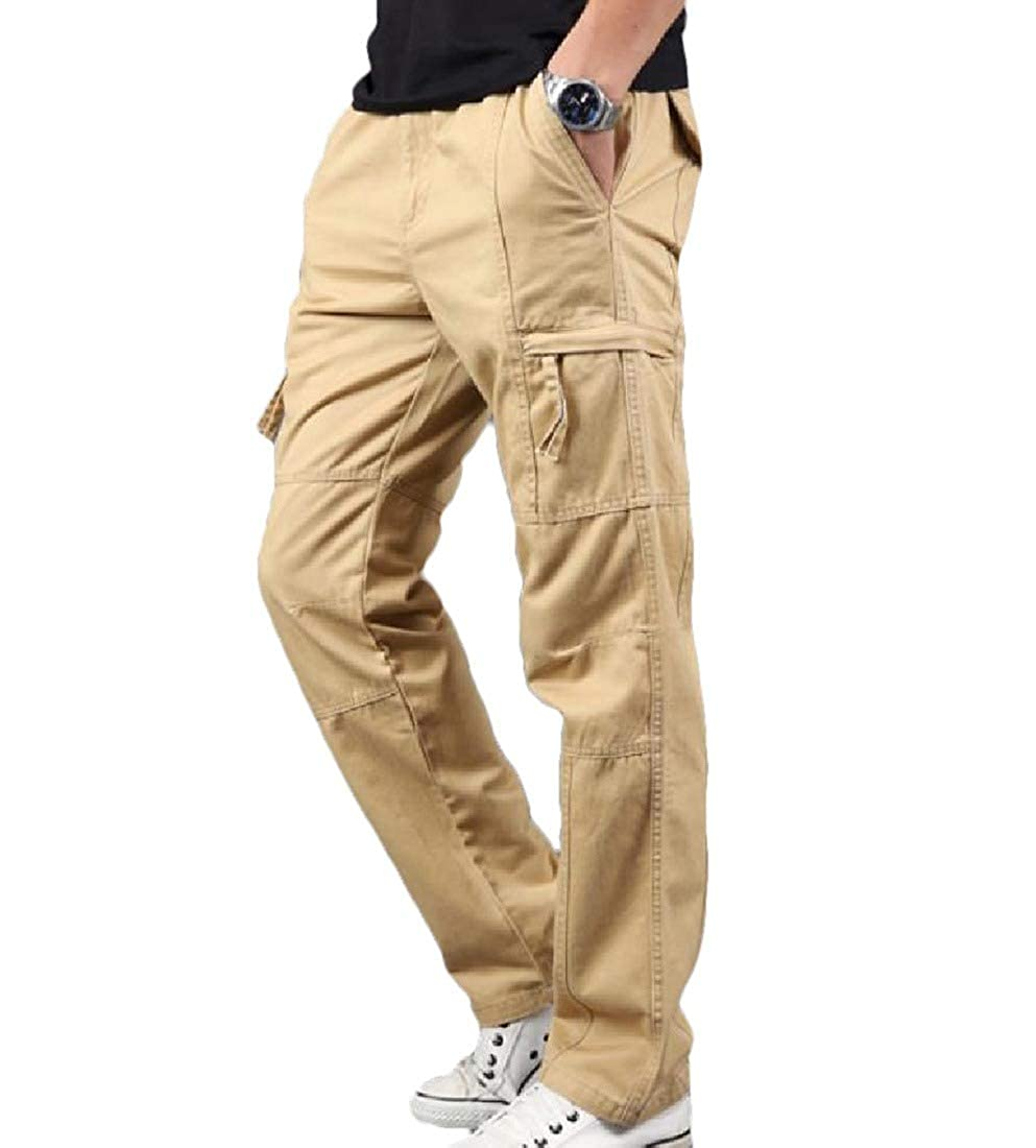 Coolred Mensy Straight Leg Baggy Long Pants Solid Color Cargo Twill Pant