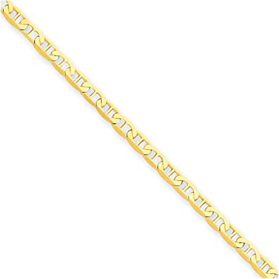Real 14kt Yellow Gold Polished Anchor Link Anklet; 10 inch; Lobster Clasp