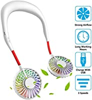Hand Free Mini USB Personal Fan - Rechargeable Portable Headphone Design Wearable Neckband Fan,3 Level Air Flo