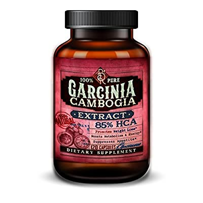 Pure Garcinia Cambogia Extract - 550 mg with 85% HCA - Hydroxycitric Acid and Potassium - Natural Appetite Suppressant and Weight Loss Supplement - Diet Pills - 120 Vegetarian Capsules
