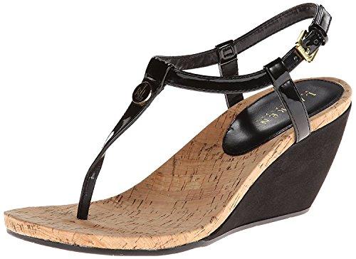 ea89544e61 Lauren Ralph Lauren Women's Reeta Wedge Sandal, Black Patent Suede  Polyurethane, 8 B US