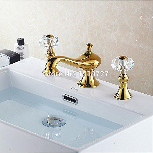 high-quality HYY@ Golden Brass 2 Handle Crystal Knob Widespread Three Holes 3 Piece Bathroom Faucet Deck Mount Vanity Mixer Sink Tap