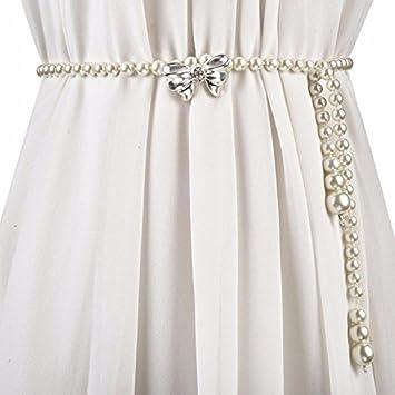 SAIBANGZI Cinturón de Perlas metálico para Cintura con Falda y ...