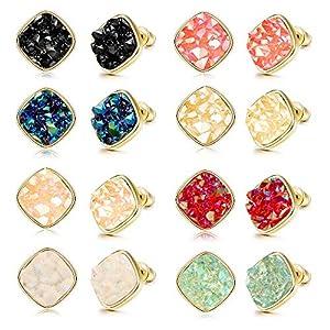Finrezio 8 Pairs Resin Square Faux Druzy Stone Stud Earrings Set for Women Men Gold Plated Fashion Earrings Jewelry 10MM