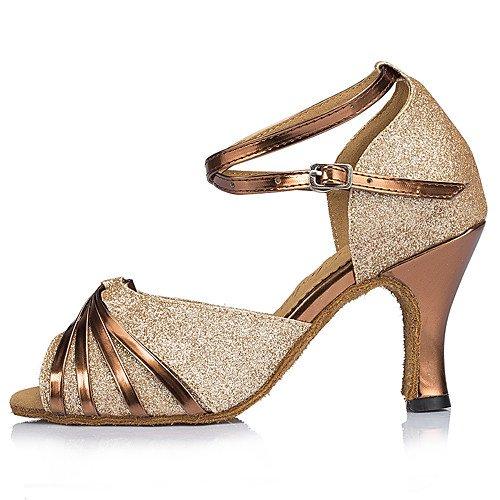 FLA de de Oro Zapatos T Principiante Tacones Talón Mujer Oro Chispeante T Aire al Baile Libre Q Brillo wtgwqvXBx