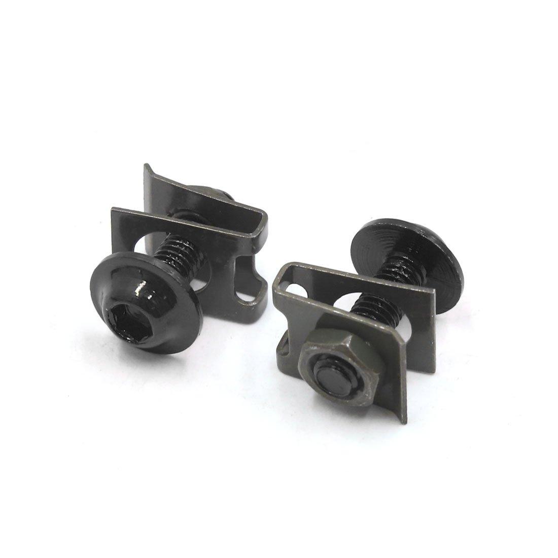 Sourcingmap 6mm 16Pcs Negro Metal Accesorio de Motocicleta Tema Di/ámetro Pernos Hexagonales Tornillos Remache de Clip Grapa